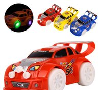 mini electric car toy - 2015 New mini car toy Automatic Steering LED Wheel Music Racing Car model Electric Toy for kids DHL