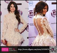 Reference Images selena gomez dress - 2015 Selena Marie Gomez Long Sleeve Cocktail Dresses Attractive Sheer Back High Neck Mini Short Prom Homecoming Celebrity Dresses Oscar