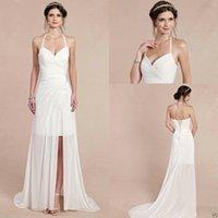 allure bridal dresses - 2016 Sexy Halter Wedding Dresses Cheap Custom Made Chiffon Spring Beach Wedding Gowns Wedding Dress Slit For Sale Allure Bridal Gowns