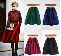 Cheap Plus Size XXL Vintage Women Skirt Fashion 2015 Summer Spring High Waist Ball Gown Pleated Midi Ladies Skirt With Pocket D61