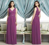 Cheap New Style purple Chiffon Designer Bridesmaid Dresses v neck Bridal Floor Length Ruched A-Line Dress Custom Made Plus Size 2015 Hot