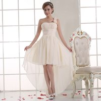 Wholesale New champagne fashion High low one shoulder pleated chiffon Bridesmaid Dresses with flower Party Dress short front long back