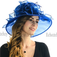 dress hats - New Design Organza Derby Hats Party Dress Different Colors Womens Summer Hats Best Wide Brim Church Hats Sale Online SD