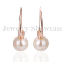 acrylic drop box - Fashion K Rose Gold Plated Luster Acrylic Pearl Drop Earrings Fish Hook Pair with Gift Box