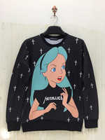 beautiful alice - New women men Hot sale cartoon Alice princess girl print Hoodies beautiful Pullovers sexy sweaters sport hip hop sweatshirts