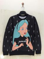 beautiful women sports - New women men Hot sale cartoon Alice princess girl print Hoodies beautiful Pullovers sexy sweaters sport hip hop sweatshirts