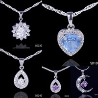 Asian & East Indian crystal drops - Chic Silver Pendant Amethyst Crystal Drop Necklace DIY For wedding Jewelry Mix