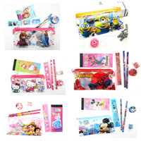 bags for students - Frozen Kids learning items elsa anna sofia kitty car stationery set for children Pencil cases Bags Ruler Pencils notebook sharpener Eraser