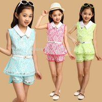 thanksgiving - girls clothing sets summer children clothes for girls fashion turn down collar sleeveless Age girls sets the belt