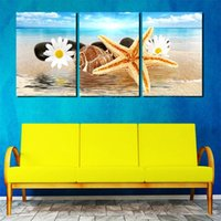 beach still life painting - 3 Panel Modern Still Life Canvas Texturized Paint Print for Wall Decoration Sea Beach Rectangle Wall Paintings Flower Shell Art