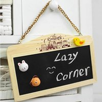 Wholesale Promotion Hot Wood Wall Hook Chain Hanging Magnetic Double sided Small Blackboard Whiteboard Message Notice ChalkBoard x14x1cm