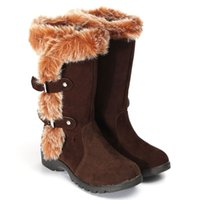artificial suede fabric - New Winter Women Snow Boots Womens Ladies Mid Calf Heels Artificial Fur Buckles Warm Shoe Girls Zapatos Botas Low Heel Shoe