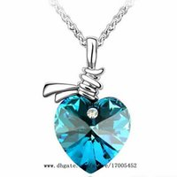 Pendant Necklaces crystal heart - Austrian Crystals Heart Pendant Necklace Crystal Necklaces Jewellery Colours y004