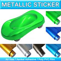 achat en gros de chrome métallique pellicule de vinyle-Super brillant métallisé Pearl Vinyl Wrap High Poly métallisé Chrome Pearl Blue Car Autocollants Bubble Air Free Release 1.52x20M 5x65Ft