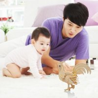 Wholesale New DIY D Three dimensional Wooden Animal Cock Style Jigsaw Puzzle Toys for Children Kid Handmade Wood RJ P0637