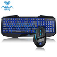 Wholesale US STOCK Professional AULA LED Ergonomic Backlight Gaming Keyboard DPI Wired USB Game Mouse for PC Computer Game Player