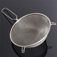 Wholesale 1pc Simple Convenient Large cm Stainless Steel Sieve Strainer Mesh Wire Flour Baking Tea Kitchen Tools