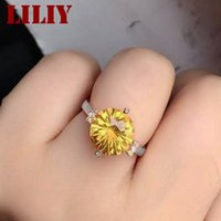 Cheap Women 925 sterling silver white gold plating inlaid 100% natural Brazil citrine ring Lady crystal gem jewelry