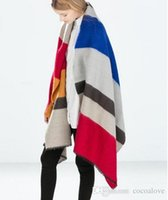 Wholesale 2015 winter Latest version Oversized scarf Palermo Runway Catwalk Street Snap Knitted Cardigan Plaid Cape Poncho Shawl Women Lady