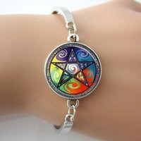 astrology men - Wiccan Astrology Fire Air Earth Water Glass Tile Bracelet men Bangle Plated Antique Silver Round Charm Rhodium Plated Bangle New