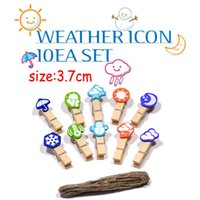 Wholesale weather forecast alligator clips with rope wooden clip mm wedding and home decoration set