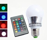 Wholesale Shipping Indoor The New Big W E27 RGB LED Light Color Changing Lamp Bulb V with Remote Control New