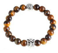 beaded tiger - Natural Gemstone Lava Tiger Eye Black Line Stone Owl Rose Beaded Bangles Elastic Streched Men Women Bracelets Large Stock