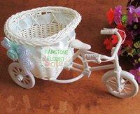 Wholesale Rattan Heart Gift Basket Flower Pots Planter Wedding home Furniture decor Bicycle Car Vase Pink FL1578 vasos decorativos