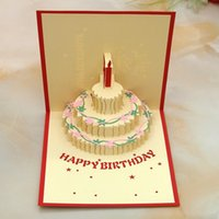 Wholesale 3D greeting cards birthday cake three color greeting card Creative D pure handmake Birthday cards can be customized pack