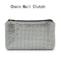 aluminum chain mail - Aluminum sheet cosmetic bag for women ladies fashion chain mail clutch high capacity wash bag