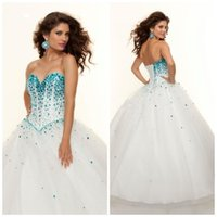 Wholesale 2015 Hot Fashion Sky Blue Quinceanera Dresses Ball Gown Princess Lovely Turquoise Sequens Puffy Floor Length Sweet Dresses Prom Dresses