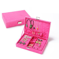 Wholesale Hot sale fashion women Suede leather gift jewelry box display organizer colors Large carrying cases casket boxes