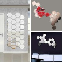 wall mirror - 18pcs Honeycomb Wall Sticker Crystal Square Wall Stickers Reflective Decal for Wall Adhesive Mirror Sticker DecorationMS361139