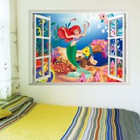 Wholesale Mermaid wall stickers for kids rooms d window sticker wall decal for girls room waterproof can remove