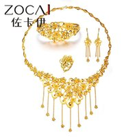 24k solid gold ring - ZOCAI BRAND RICH AND HONORED NATURAL REAL K SOLID YELLOW GOLD WEDDING JEWELRY SETS WITH NECKLACE EARRING RING BANGLE