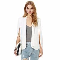 Wholesale XS XXL Size Women Fashion White Black Lapel Split Long Sleeve Pockets Casual Blazer Cape Suit Workwear Women s Blazers