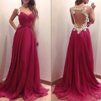 flowing prom gowns - 2015 Vestidos dress long A line chiffon flow prom dresses cheap spaghetti straps applique lace sheer tulle back evening gowns BO6953