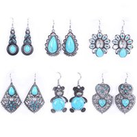 Wholesale 12 style sterling silver earrings with Turquoise Dangle earrings for women wedding fashion fine jewelry free shopping