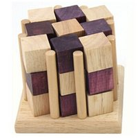 Wholesale IQ D Wooden Puzzle Brain teaser Puzzles Game for Adults and Children