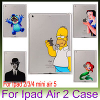 Wholesale Stitch Simpsons Marilyn Monroe fairy with LOGO Clear Transparent Plastic hard Cases cover For iPad mini