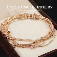 Link, Chain beautiful gold bracelet - Beautiful K Rose Gold Plated Brand Design Multicolour Austrian Rhinestones Tassels Lady Bracelet krgp