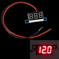 Wholesale LED Panel Mini Wires Digital Display Voltage Meter Car Voltmeter Voltimetro DC V Yellow Green Red Blue Light order lt no track