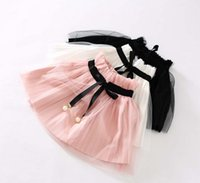 wholesale lace ribbon - Lace Ribbons Pearls Spring Girls Skirts Kids Clothing Puff Pleated Layered Organza Short Skirt Mini Cute Skirt White Pink Black N0050