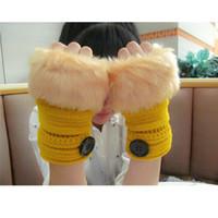 Wholesale Winter Warm Imitation Rabbit Faux Fur Women Gloves Knitted Patchwork Waist Gloves half Finger Gloves Fingerless Knitted Wool Mitten button