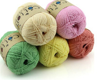Wholesale 32colors Cotton yarn for knitting s in colour hand knitting baby sweater Eco Friendly yarns balls small on sale