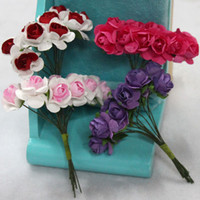 Wholesale small handmake paper flower decoration rose for candy box diy accessory wedding favor