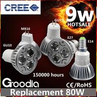 Wholesale High Power Cree Led Light Bulbs B22 GU10 MR16 W W W Dimmable E14 GU5 E27 Led Spot lights led downlight lamps