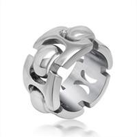 Alto acero inoxidable pulido España-El anillo de compromiso de los pares del acero inoxidable de 12m m 316L con el regalo pulido Sz5-11 R302 del encanto del diseño geométrico de la cadena del amor alto