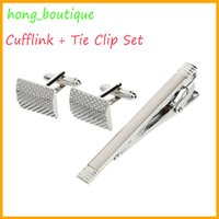 Wholesale Top Sale French Mesh Grid Design Cufflink Tie Clip Set Silver Cufflinks for Business Mens Casual Occasion Cuff Links