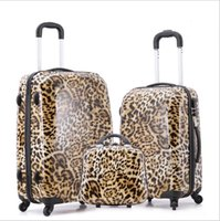 Wholesale Abs pc luggage three pieces set luggage trolley leopard fashion girls new universal wheel check luggage